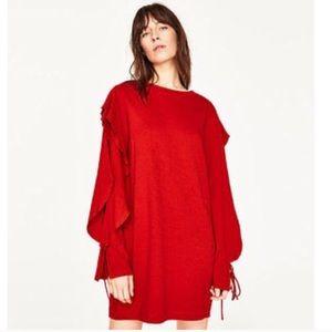 Zara Red Open Ruffle Long Sleeve Knit Dress Large